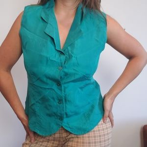Vintage Silk Sleeveless Blouse Button Up